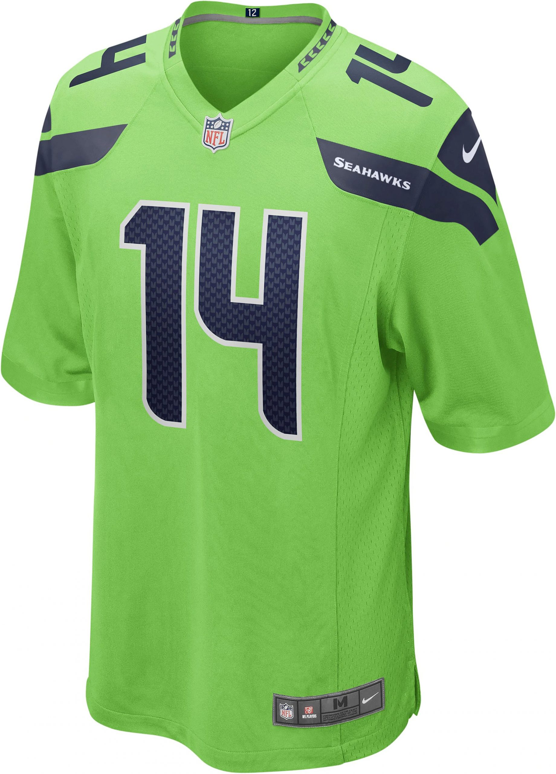 2020 Nike Dk Metcalf Seattle Seahawks 14 Alternate Game Jersey Neon Green Color Rush Pnw Sports Apparel
