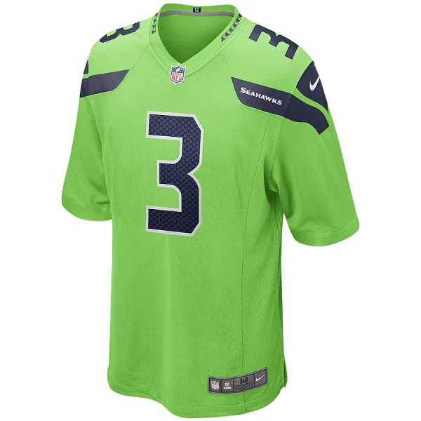 2020 NFL Nike Russell Wilson Seattle Seahawks Alternate Game Jersey - Neon Green