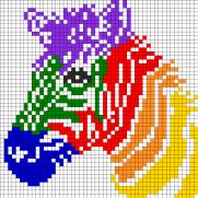 15093_rainbow_zebra_for_perler_or_square_stitch