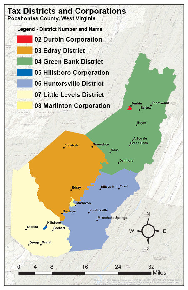 Pocahontas County Tax Districts Map