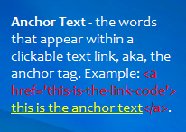 anchor text defined as the words that appear in a link