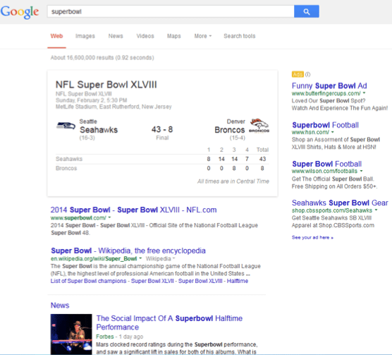 News & Real Time Search Results