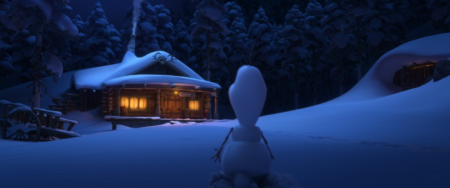 Olaf approaching Oaken Trading Post and Sauna