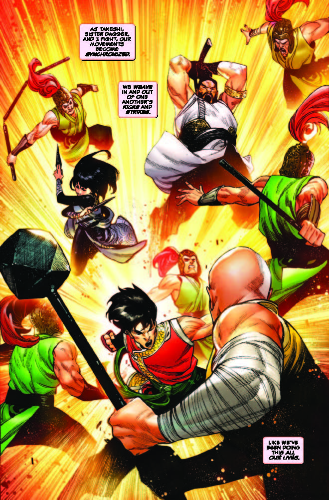 Shang-Chi, Brother Sabre and Sister Dagger against Sister Hammer!