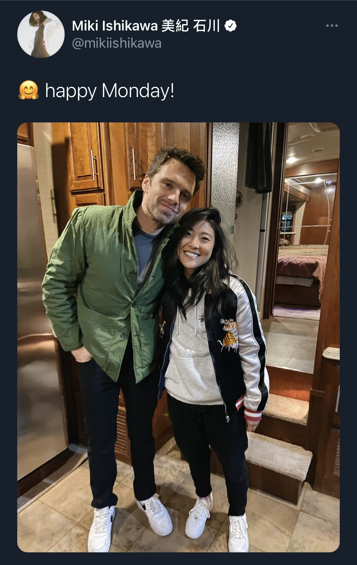 Miki Ishikawa with The Falcon and the Winter Soldier Co-star Sebastian Stan from Ishikawa's Twitter