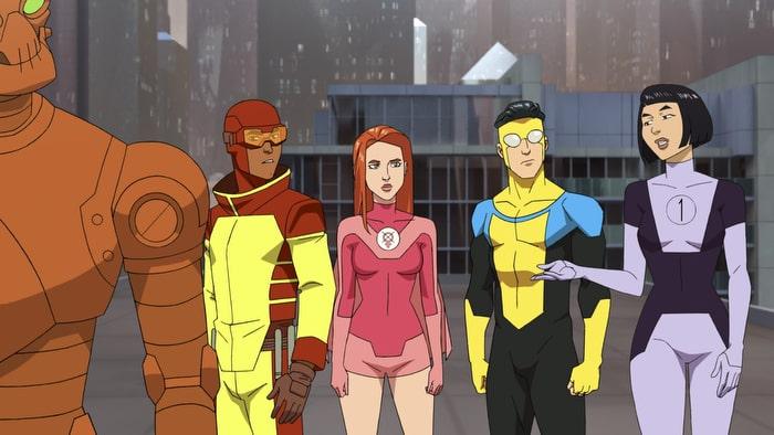 Pictured (L-R): Zachary Quinto (Robot), Jason Mantzoukas (Rex Splode), Gillian Jacobs (Atom Eve), Steven Yeun (Mark Grayson), Melise (Dupli-Kate)