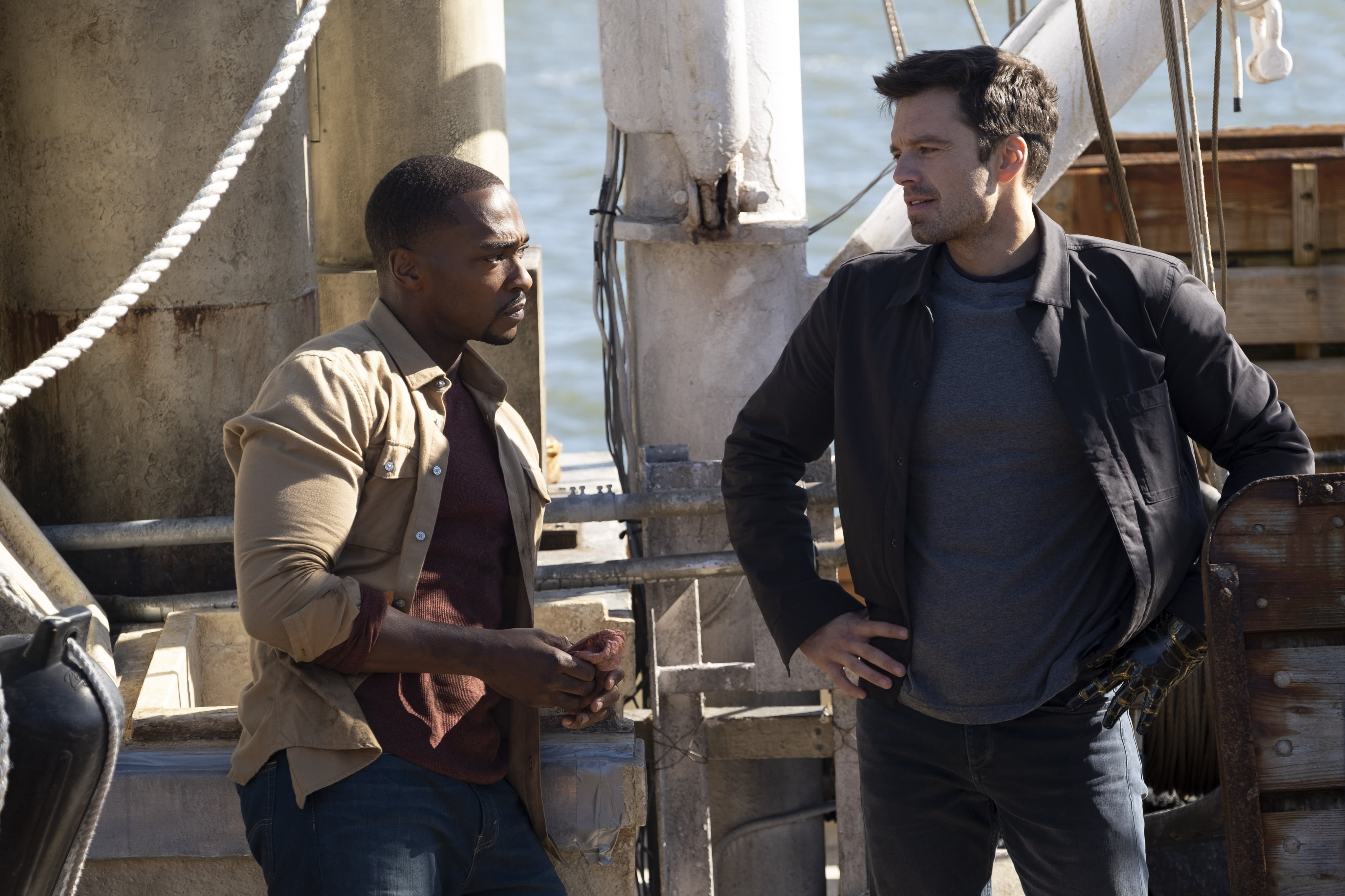 Sam Wilson/The Falcon (Anthony Mackie) and Bucky Barnes/The Winter Soldier (Sebastian Stan) in Marvel Studios' THE FALCON AND THE WINTER SOLDIER exclusively on Disney+. Photo by Chuck Zlotnick. Credit Marvel Studios 2021. All Rights Reserved.