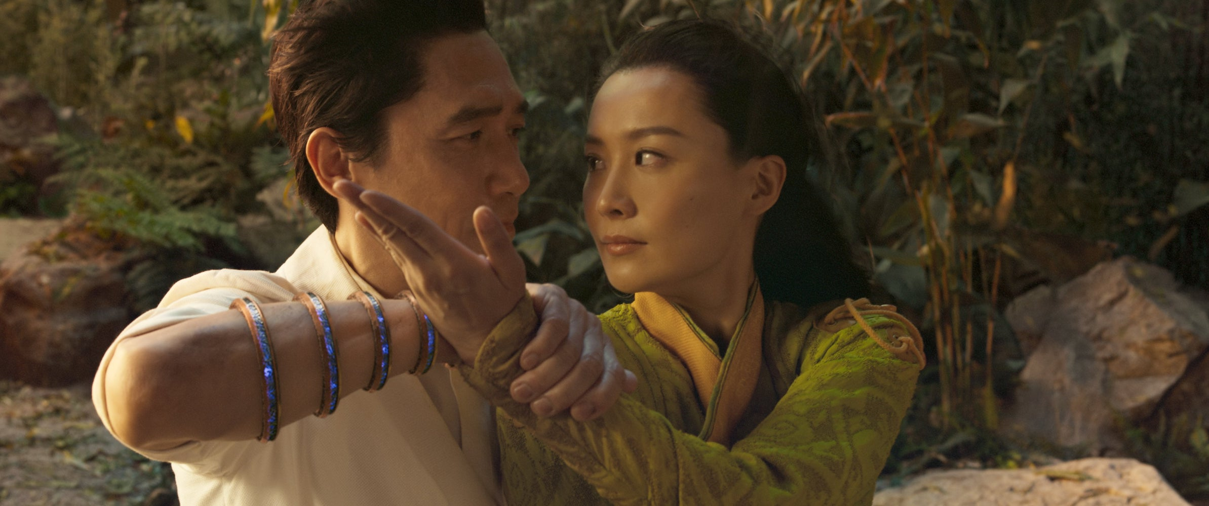 (L-R): Wenwu (Tony Leung) and Ying Li (Fala Chen) in Marvel Studios' SHANG-CHI AND THE LEGEND OF THE TEN RINGS. Photo courtesy of Marvel Studios. ©Marvel Studios 2021. All Rights Reserved.