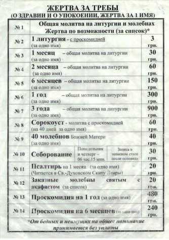 цены на записки в Почаевской Лавре