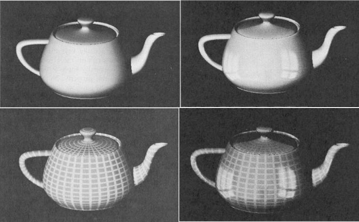 Dans le premier article de Newell utilisant la théière comme plate-forme de démonstration, il a présenté plusieurs améliorations au rendu réaliste: En plus du rendu de la théière ordinaire