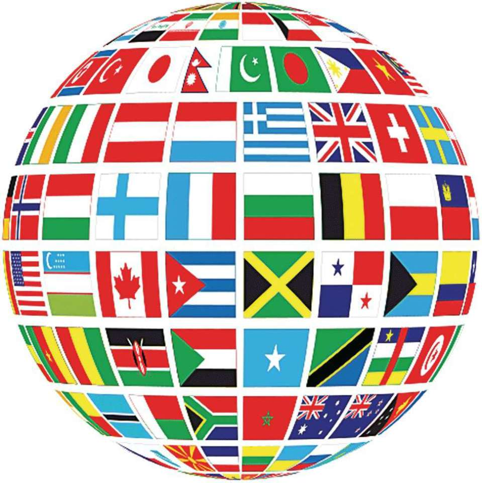 Illustration of a globe with different flags illustrating global connections.