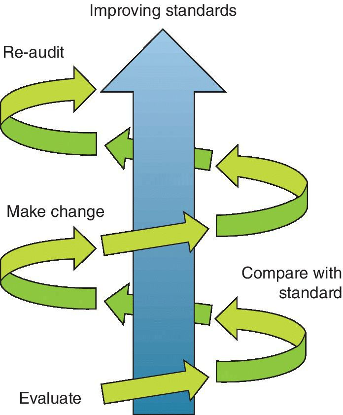 Diagram of an audit spiral displaying an upward trend in standards of clinical care indicated by arrows from evaluate to re-audit and to improving standards.