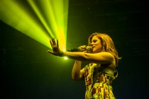 Katy B managed to look adorable in a table cloth fashioned into a summer jump suit. Now that's a feat.