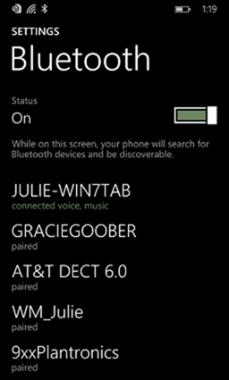 Bluetooth paired devices