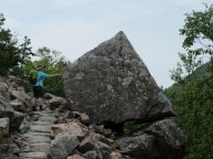 Liz finding untapped strength on the hike up Champlain Mt.