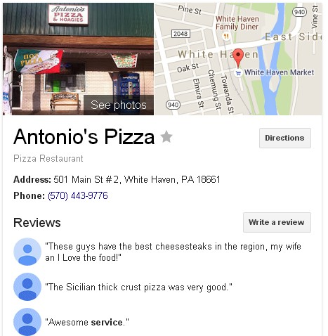 Antonios Pizza White Haven Google Listing