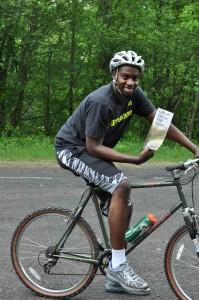 Andre Thomas of East Stroudsburg University participates in Pocono Bike Rental Summer Internship Program