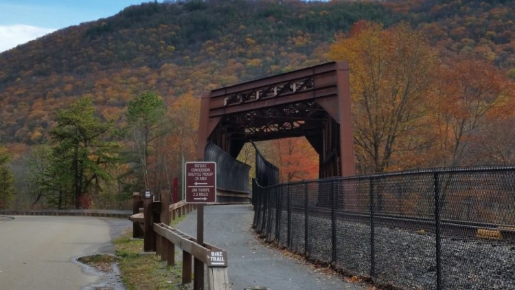Pocono Biking on the Lehigh Gorge Trail near Jim Thorpe