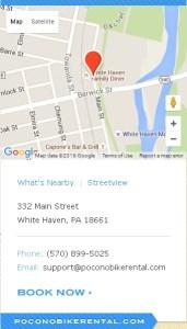 Pocono Bike Rental White Haven PA Location Directions