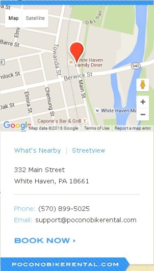 Pocono Bike Rental White Haven PA Location Directions