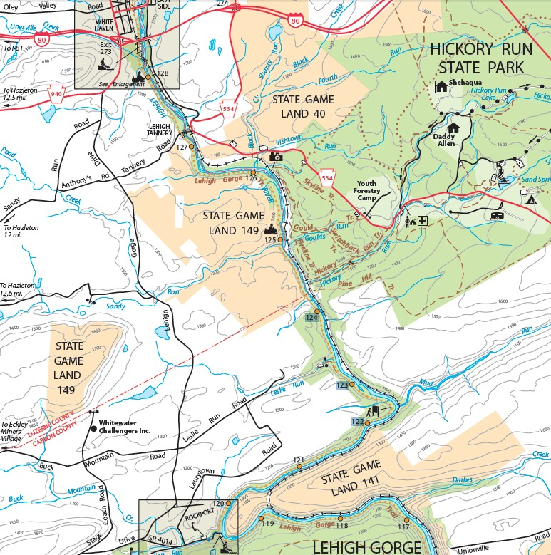 White Haven Bike Rentals and Shuttles - Lehigh Gorge State Park Map