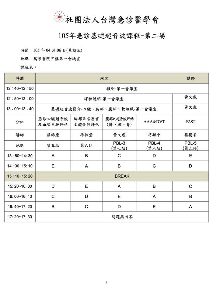105.04.06 萬芳醫院-105年急診基礎超音波課程-簡章 課表