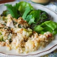 Zapiekanka z kurczaka i brokułów pod beszamelem