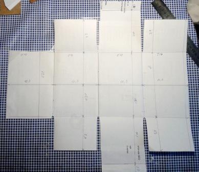 Выкройка шкатулки на бумаге