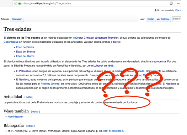 Sistema tres edades en la Wikipedia
