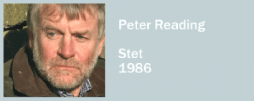 graphic for Peter Reading, Stet