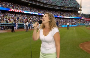 Bree Noble sings at Dodger Stadium