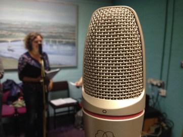 Kathryn recording at BBC Radio Suffolk
