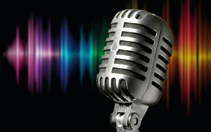 Studio microphone with coloured background