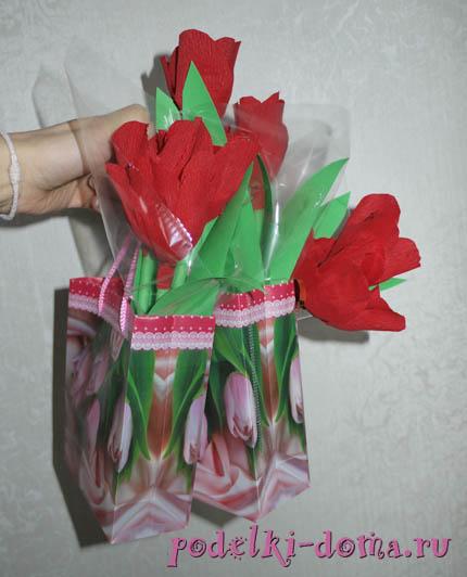 Cvety iz konfet.
