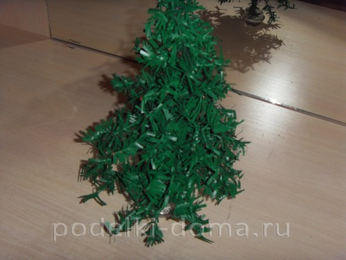 Christmas tree made of loaf or plastic bags