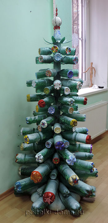 Christmas tree from bottles