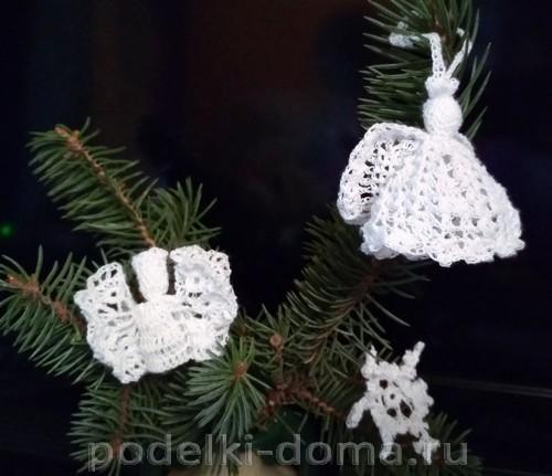 ангелочки и снежинка вязаные