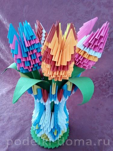 цветы модульное оригами