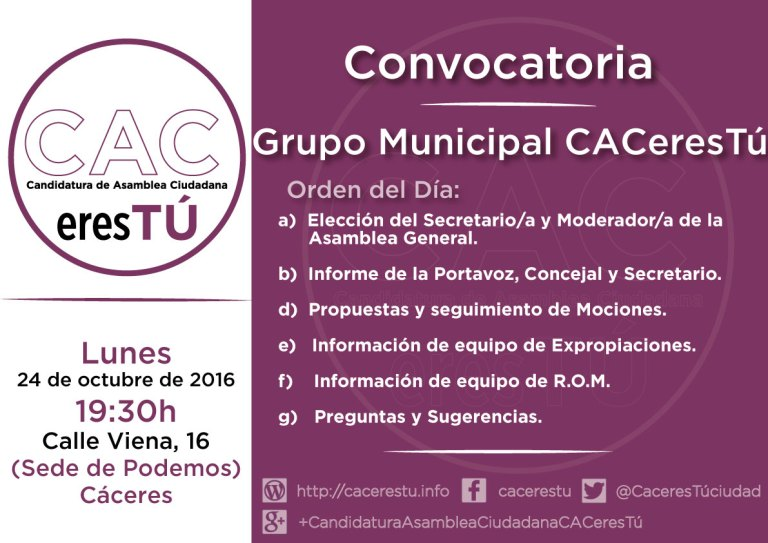 Cartel convocatoria Reunion del grupo municipal cacerestu del 24 de octubre