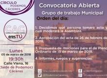 Cartel Asamblea de CACeresTú de 05 de marzo de 2018