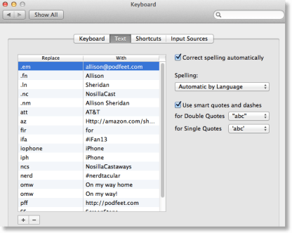 text shortcuts in System Preferences