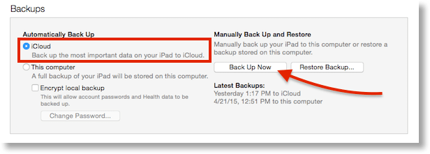 iTunes backup showing auto to iCloud but manual locally