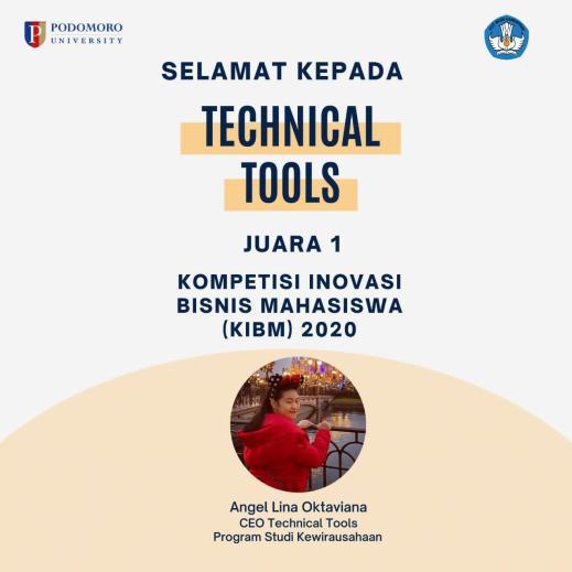Technical Tools meraih juara Kompetisi Inovasi Bisnis Mahasiswa 2020