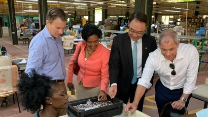 FILE - From left, the World Bank's Erik Bethel, Saint Lucia Gov. Nancy Charles, Taiwanese Amb. to Saint Lucia Shen Cheng-tsung, and U.S. Department of State official Corey Johnston visit a U.S.-owned firm in Saint Lucia, Nov 6. 2019. (@USEmbassyBbdos)