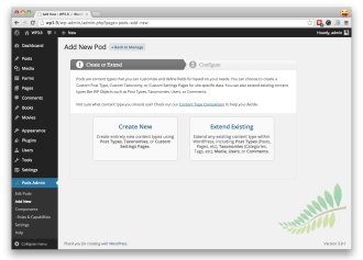 In the Pods Admin, create your Pods and Pod Fields