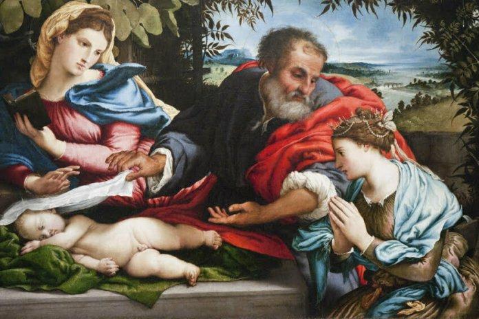 """Lorenzo Lotto """"Święta Rodzina ze św. Katarzyną z Aleksandrii"""" Bergamo"""