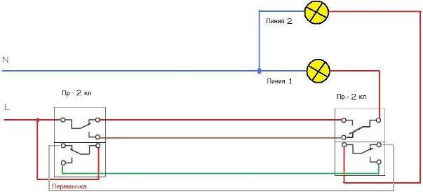Проходной выключатель схема монтажа