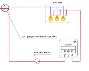 Схема подключения и установка поворотного диммера