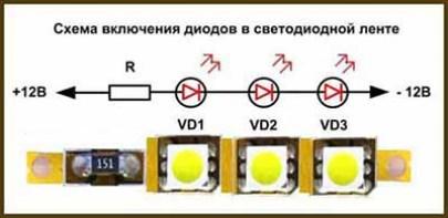 Схема подключения диодов в светодиодной ленте