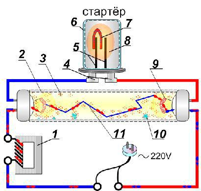 Устройство стартера люминесцентных ламп